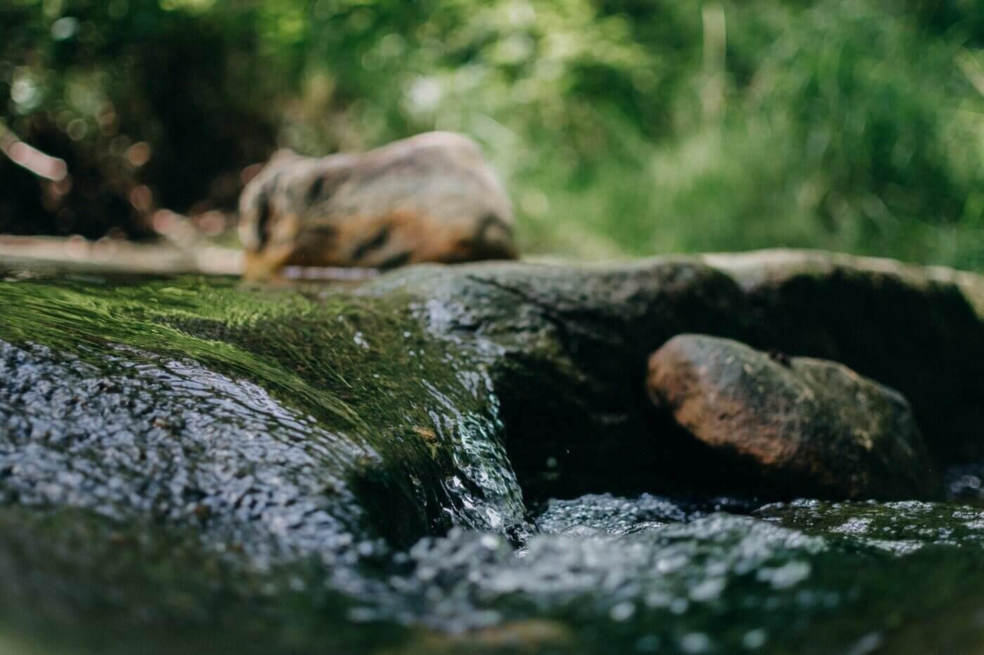 close up of water moving over rock - micro-hydro power for home energy